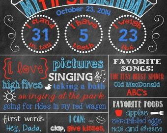 Baseball Birthday Chalkboard Baseball First Birthday Poster Chalkboard Poster Baseball Sports Theme