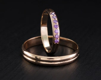 Thin wedding bands, Amethyst wedding rings, Inexpensively rings, Dainty wedding bands, His and hers band, Couple rings, Gold wedding rings