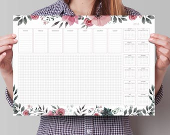 Desk calendar 2018 | A3 desk pad | Large & beautiful weekly planner 2018. Calendar planner 2018, 2018 planner, week calendar 2018, desk plan