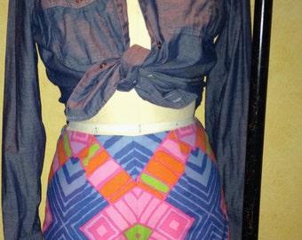Vintage 60s Shorts ,Hippie Shorts, Boho Shorts, Hot Pants, Cool Print M