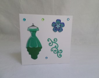 Fashion green dress for any occasion card