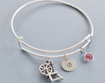 Spinning Wheel Bracelet, Spindle Jewelry, Silver Bangle, Personalized, Expandable, Charm Bracelet, Swarovski Birthstone, BFF Friend,Birthday