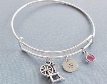 Spinning Wheel Bracelet, Spindle Jewelry, Silver Bangle, Personalized, Expandable, Charm Bracelet, Swarovski Birthstone, BFF Friend,Birthday