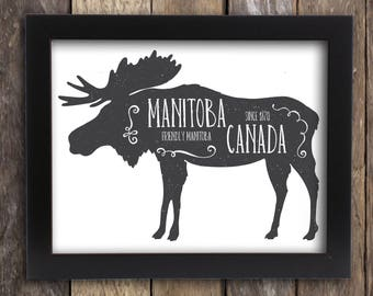 Manitoba Moose Print - Canada Praries - Canadian Rustic Hunting Antler Province Poster - Canadian Home Cabin Decor - Winnipeg MB