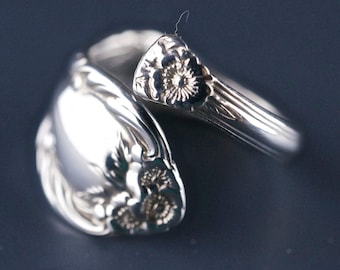 Wild rose STERLING silver spoon ring.  Size 5 to 9 spoonring spoonjewelry. international  No.0018