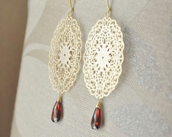 Gold Oval Filigree Earrings with AAA Quality Red Garnet Gemstones - Statement Earrings, Long Dangle Earrings, Asian Inspired Earrings