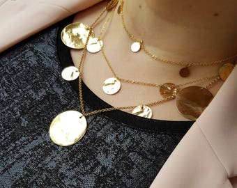 Gold Layering Necklace - Long Layered Necklace, Circle Necklace, Disc Necklace, Circle Necklace, Statement Necklace, Layering Necklaces