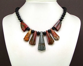 Multicolor Picasso Jasper & Volcanic Lava Necklace - N239