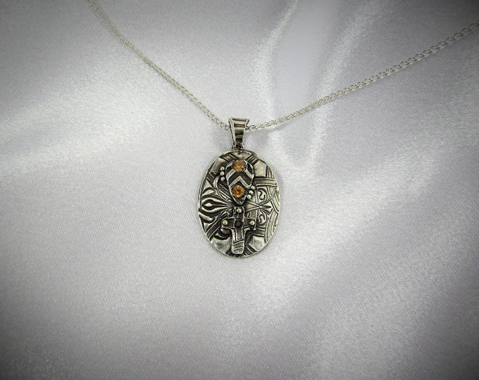 """Item 6117 - """"Blessed Collection"""" - Fine & Sterling Silver Hand sculpted carved Oval and Cross Pendant set with Quality CZ"""