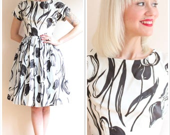 1960s Dress // Black Roses Dress // vintage 60s dress