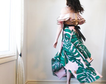 upcycled dress - S - upcycled clothing, cold shoulder dress, asymmetrical dress . island song