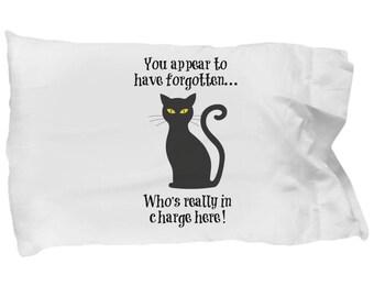 Set of 2 Black cat pillowcase, black cat pillow, cat pillow case, cute cat pillow case, cat pillowcase covers, funny cat pillowcase