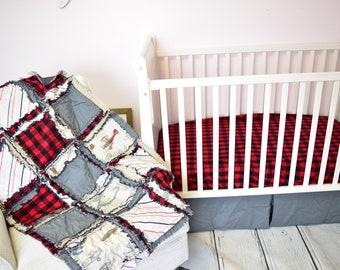 Avion Vintage bébé garçon chambre d'enfant lit Set - gris / rouge / Buffalo Plaid