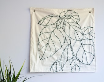 Sweet Basil Hand Embroidered Textile Art