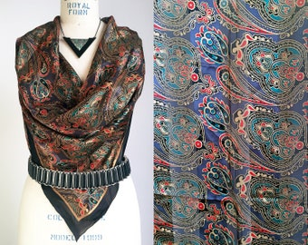 80s Accessory Silk Scarf Rolled Edge Paisley Print Scarf Black Blue Red Gold Paisley Scarf Vintage Scarf 80s Scarf Vintage Silk Scarf