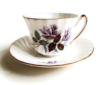 Royal Kendall Tea Cup and Saucer Purple Roses 1970s