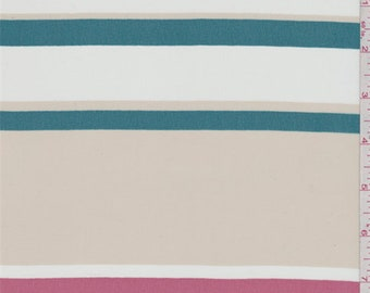 Beige/Teal/Berry Stripe Chiffon, Fabric By The Yard