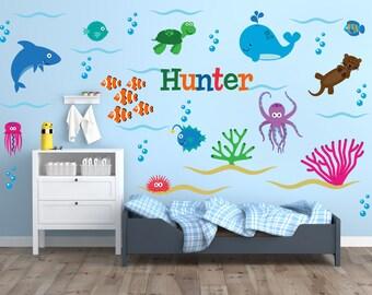 Ocean Nursery Wall Decals, Ocean Wall Decals, Ocean Theme Wall Decals, Ocean Theme Nursery Decor, Nursery Wall Decals, Name Wall Decals