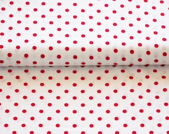 Geraldine - small dots red on white background
