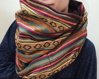 Custom Infinity Scarf Hood Neck Warmer Fleece Nepalese Winter Fashion Six Traditional Nepalese Fabrics Soft Stretch Fleece Earthy Brown