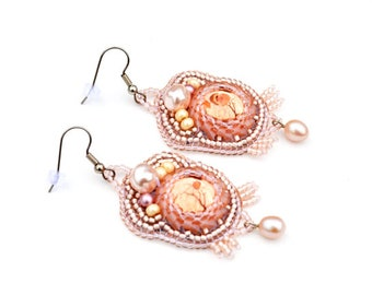 Pink Bead Embroidered earrings Statement earrings Chandelier earrings Beaded Earrings Blush pink earrings Bead Embroidery Gift idea for lady