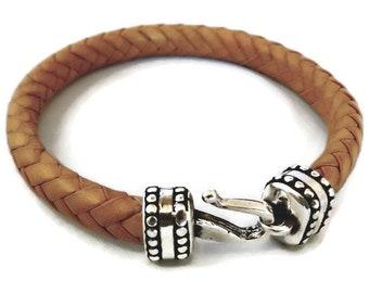 Braided leather bracelet, braided bracelet, genuine leather, leather bracelet, leather cuff, leather men gift, mens bracelet
