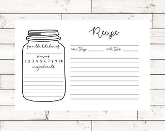 Recipe Card- Mason Jar- 4x6- Digital Instant Download