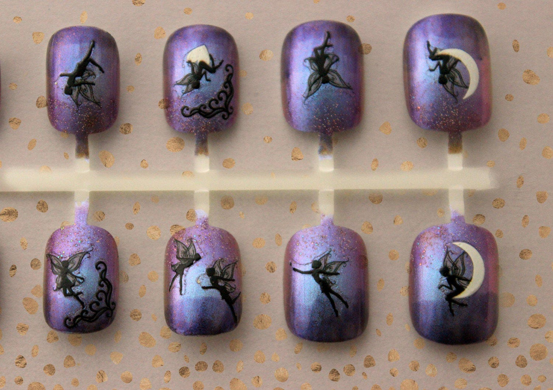 Purple Fairy Faerie Press On Nails | Fairy Fake Nails | Fairy Ombre ...