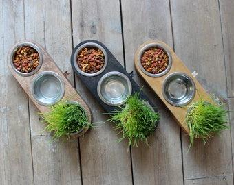 Cat bowls - Solid Triple stand (3bowls). Modern cat bowl, cat furniture, luxury pet feeder, modern pet feeder, bowl stand
