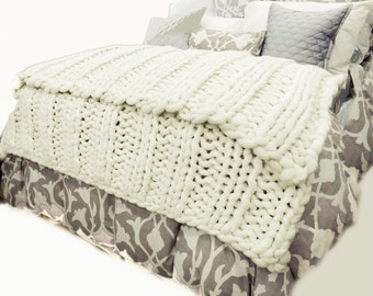 Chunky Knit Blanket, Pure Merino