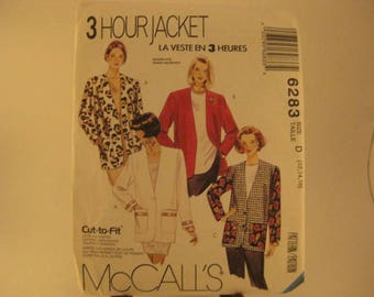 McCall's Sewing Pattern 6283 D 3-Hour Jacket sz 12-14-16 Misses' Lined or Unlined Jacket in Two Lengths - Great for custom lab coat [L26]