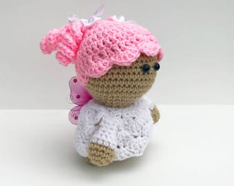 Soft Stuffed Girl Doll, Newborn Girl Plushy, Crochet Pink and White Doll, Stuffed Pink and White Girl Doll, Soft Pink Doll for Little Girl