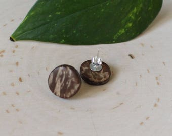 Natural Wood Round Studs | Circle Post Earrings