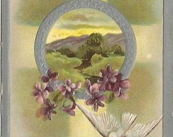 White Dove with Purple Violets Christian Cross and Scenic Meadow decorate this Easter Greeting Celebrate Spring with Vintage Postcard I H S