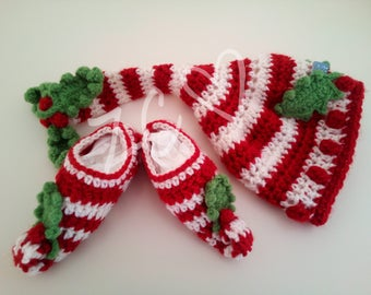 Crochet Baby Elf Hat and Slipper set, 0-6 months, Holly and Candy Cane stripe