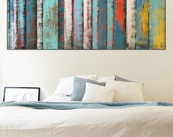 Original Abstract Painting- Ready to Hang- Landscape Canvas- Modern Wall Art- Living Room- Beach Home-Panels Blue White-Ronald Hunter