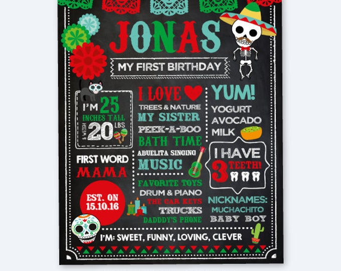 Day of the Dead Chalkboard Sign, Dia de los Muertos Birthday Decorations, Any Age, Mexican Party, Personalized Printable Milestone Poster