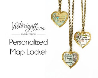 Personalized Map Heart Locket Necklace, Custom, Vintage Locket, Brass Chain, Gift Under 40, Gift for Her, Paper Anniversary, Moving Gift