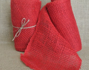 Red Burlap Ribbon 5.5 in x 15ft  love Valentine's Day amor amore