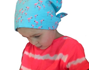 Mia Children's Head Cover, Girl's Cancer Hat, Chemo Scarf, Alopecia Headwear, Head Wrap, Cancer Gift for Hair Loss -  Pink Flamingos