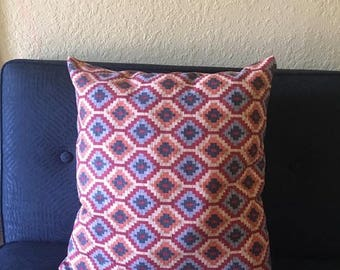 Multicolored Ikat Print  Decorative Pillow