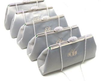 SALE! 5% OFF Bridesmaid Gift, Set Of Five Platinum Grey and Jade Green Monogram Clutches, Bridal Clutch, Bridesmaid Clutch, Wedding Clutch