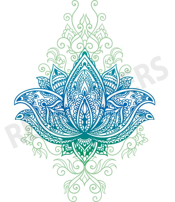 Svg Dxf Lotus Flower Bali Mandala Boho Yoga Henna Art Digital
