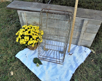 Large Industrial Rustic Metal Wire Crate Box Bin with Handles,Farmhouse Decor,Rustic Primitive Industrial Storage for Porch Patio Garden