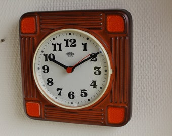 Vintage ceramic clock by EMES, West Germany