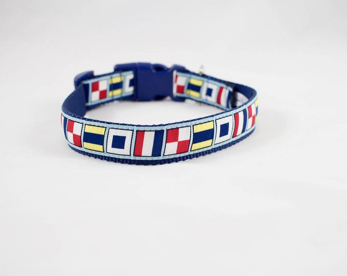 Stud collar, nautical collar, summer collar, sailing flag lingo, sailing flags, pet gifts, dog accessory, boy dog collar, by Bozies Bags