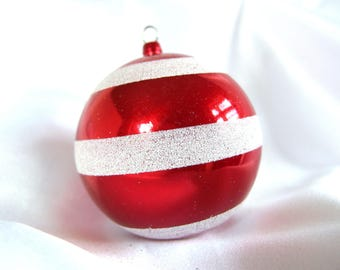 Red Plastic Ornament; Large Vintage Round Ornament with Silver Glitter Stripes and Tinsel