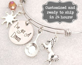 Rapunzel Engraved - I've Got A Dream Bracelet  Tangled DISNEY Inspired Bracelet, Custom Name Charm Bracelet, Adjustable Bangle,
