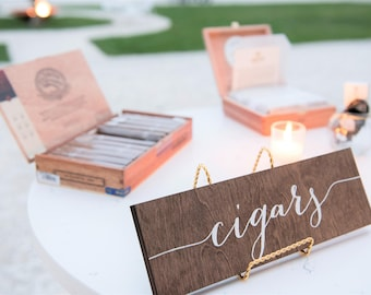 Cigars Sign, wedding cigars sign, cigar bar, wedding cigar bar, cigar table, cigar bar sign, Wooden Wedding Signs - Wood