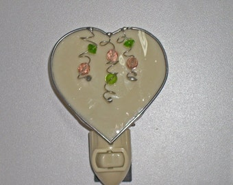 Heart Night light - Beaded Heart Nightlight - Stained Glass Night light - Heart Nightlight MADE TO ORDER